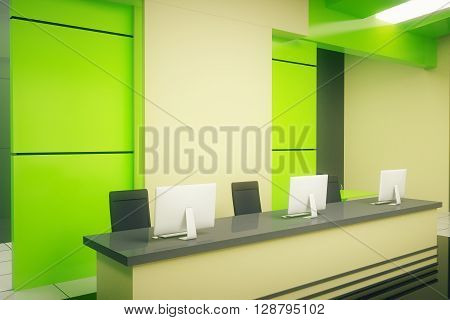 Sideview of reception stand in modern green interior. 3D Rendering
