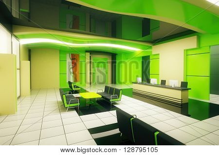 Green business interior with reception. Sideview 3D Rendering