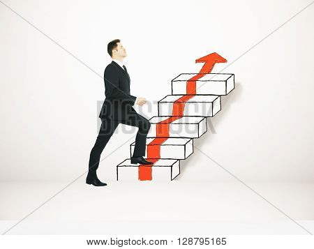 Success concept with businessman climbing ladder and red arrow sketch on concrete wall