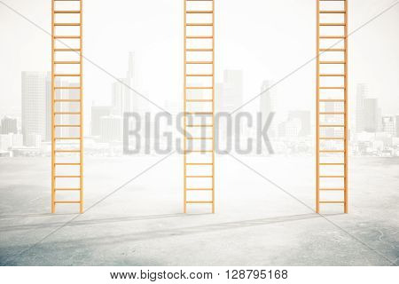 Three career ladders on concrete floor and misty city background