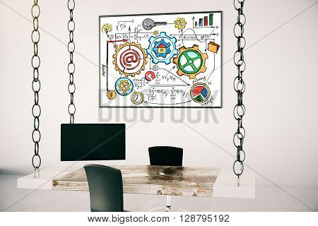 Picture frame with success concept sketch hanging in office with table suspended on chains. 3D Rendering