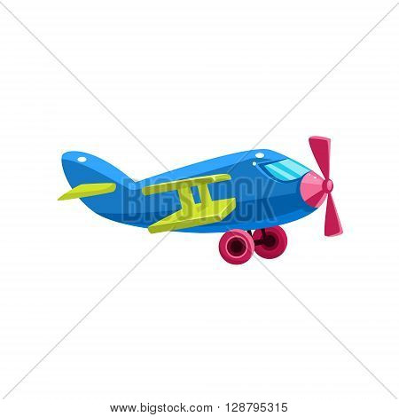Blue Biplane Toy Aircraft Glossy Vector Drawing In Childish Fun Style Isolated On White Background