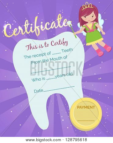 Cute tooth fairy receipt certificate template with sparkling tooth, tooth fairy girl and coin. Reward for children who loose their baby teeth.