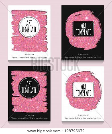 Modern eclectic pink glitter flyer, poster, card template. Vintage dotted shadows, glamourous pink glitter texture, minimalistic background and casual text.