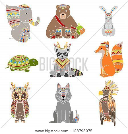Animals Wearing Tribal Clothing Set Of Colorful Flat Isolated Icons In Cool Detailed Artistic Design Isolated On White Background