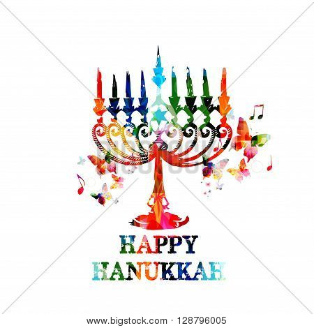 Vector illustration of colorful Hanukkah menorah with candles with butterflies