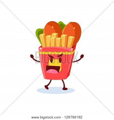Junk Food Cartoon Character  Simple Flat Vector Drawing In Childish Fun Style Isolated On White Background