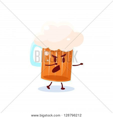 Beer Pint Cartoon Character  Simple Flat Vector Drawing In Childish Fun Style Isolated On White Background