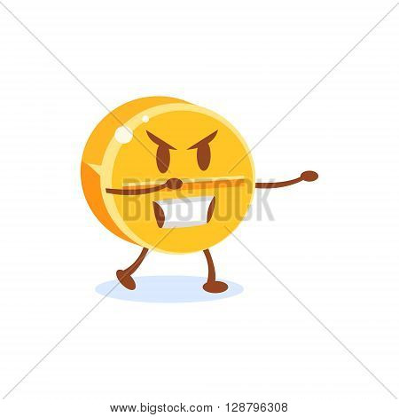 Gambling Coin Cartoon Character  Simple Flat Vector Drawing In Childish Fun Style Isolated On White Background