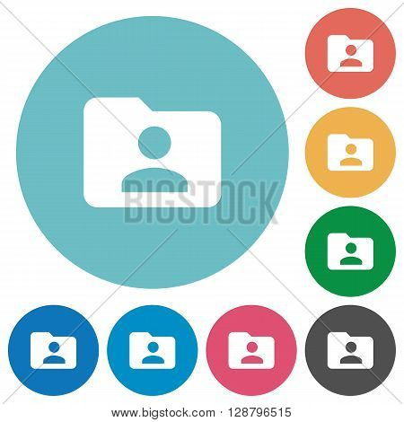 Flat folder owner icon set on round color background.