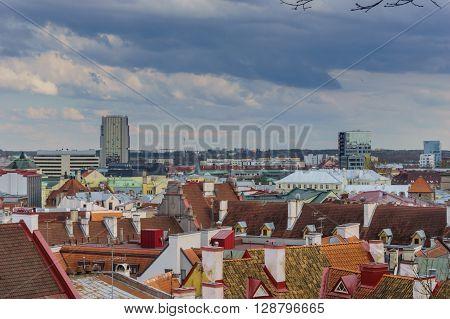 ESTONIA, TALLINN - may 2016 Skyline of Tallinn, Estonia with the old city and the new city