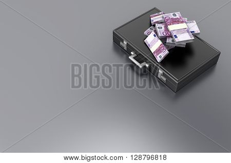 A Briefcase and Euros in Cash. 3D rendered Illustration.
