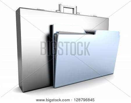 A Briefcase with a Folder. 3D rendered Illustration.