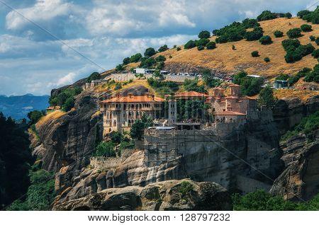 Orthodox Monastery The Holy Monastery of Varlaam on the rock near Kalambaka Meteora Thessaly Greece