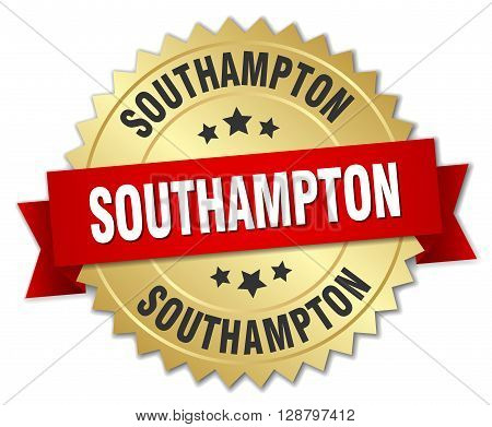 Southampton round golden badge with red ribbon