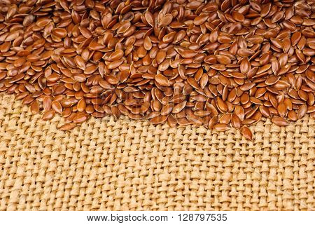 The some flax seeds on canvas background