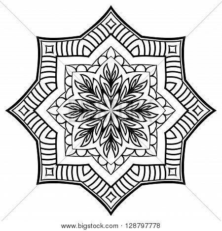 Vector contour mandala on a white background. Oriental ornament.