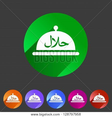 Halal food platter dish meal icon web sign symbol logo label set