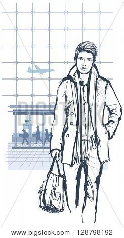 Man traveling with bag - vector illustration