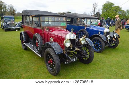 Saffron Walden, Essex, England - April 24, 2016: Two Vintage Morris Cowley motor cars.