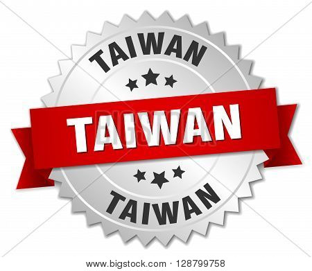 Taiwan round silver badge with red ribbon