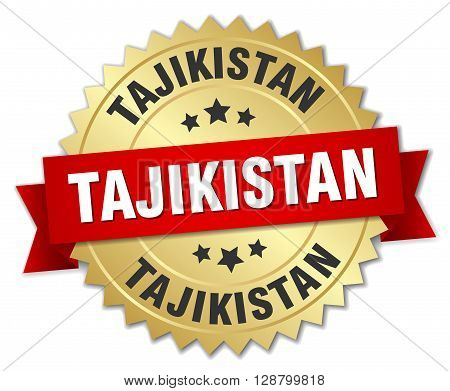 Tajikistan round golden badge with red ribbon