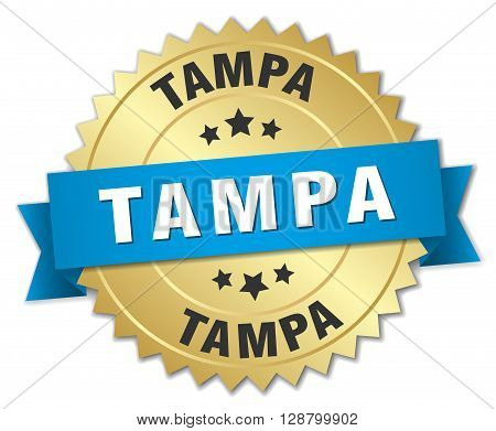 Tampa round golden badge with blue ribbon