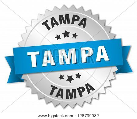 Tampa round silver badge with blue ribbon