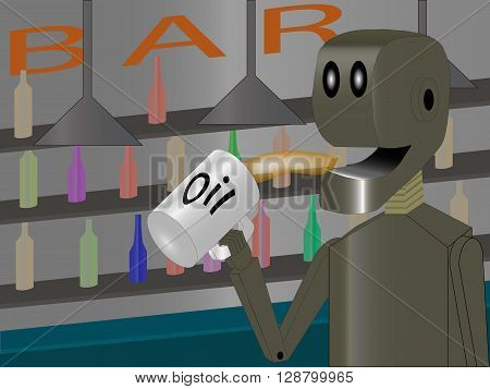 robot at the bar drinking oil illustration in eps 10 format