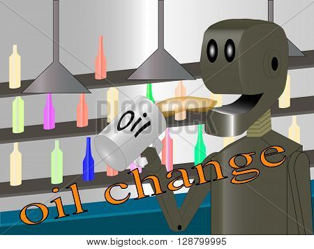 robot produces oil change illustration in eps 10 format