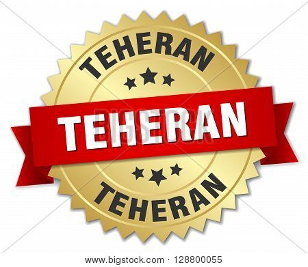 Teheran round golden badge with red ribbon