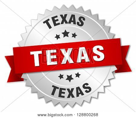 Texas round silver badge with red ribbon