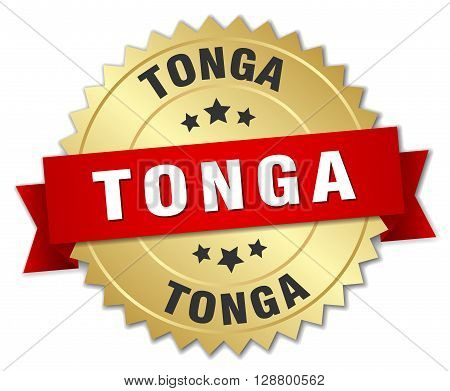 Tonga round golden badge with red ribbon