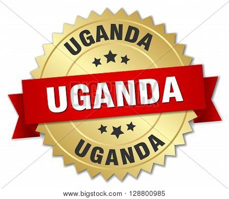 Uganda round golden badge with red ribbon