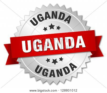 Uganda round silver badge with red ribbon