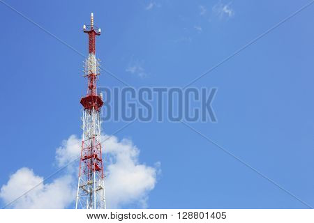 TV tower on blue sky background