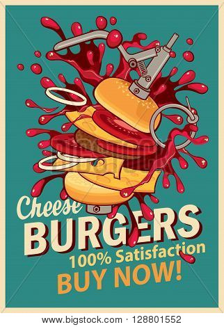 Retro banner with cheeseburger with splashes of explosion