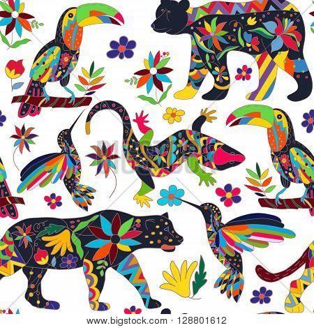Seamless pattern with isolated Mexican animals and flowers. The black bear jaguar toucan lizards hummingbirds. Traditional Mexican animals in colorful colors and flowers. Vector illustration.