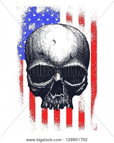 Skull and flag usa. Vector illustration.