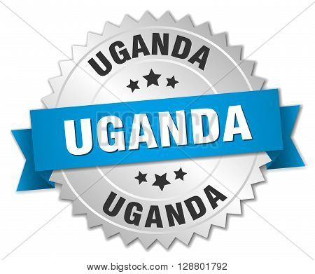 Uganda round silver badge with blue ribbon