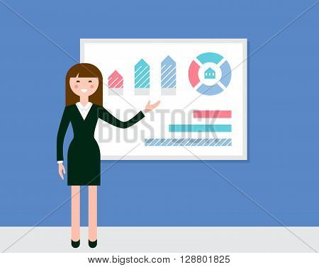 Female Speaker Giving Presentation Using Diagrams and Charts. Flat Vector llustration