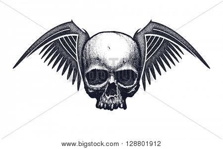 Skull with wings. Hand drawn vector illustration. Element for your design.