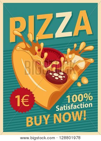 Vector Retro banner with slice of pizza