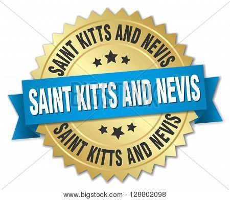 Saint Kitts And Nevis round golden badge with blue ribbon