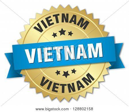 Vietnam round golden badge with blue ribbon