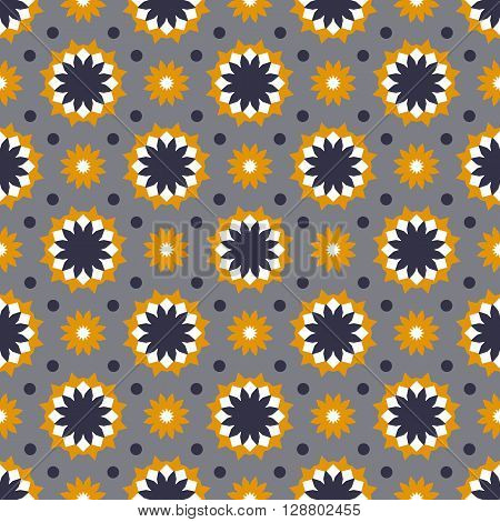 Vector ethnic colorful pattern in bright colors with small abstract flowers and sun. Geometric background with Arabic, Indian, Moroccan, Aztec motif. Bold print with stars, mandalas, triangle, polygon
