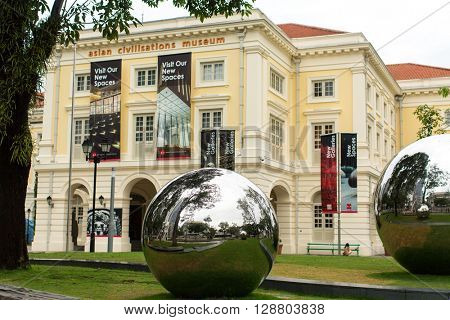 SINGAPORE - JAN 19, 2016: On territory in front of Asian Civilizations Museum. On Sep 2014, the Museum was named the top museum in Singapore, ranked among Asia's top 10 museums.