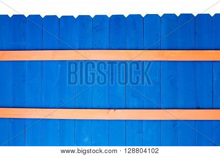 Colorful Bright Blue Stained Wooden Picket Fence