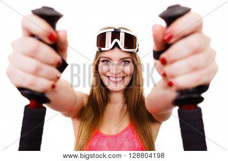 Closeup Of Female Skier.