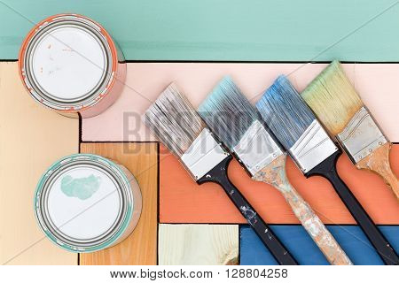 Colorful Wooden Background Of Stained Boards